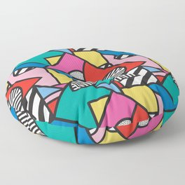Colorful Memphis Modern Geometric Shapes - Tribal Kente African Aztec Floor Pillow
