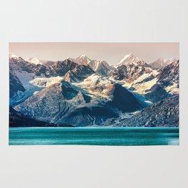 Scenic Alaskan nature landscape wilderness at sunset. Melting glacier caps. Rug