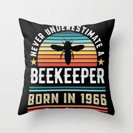 Beekeeper born 1966 60th Birthday Gift Beekeeping Throw Pillow