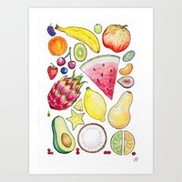 fruits Art Prints featuring Fruits by Hacklock