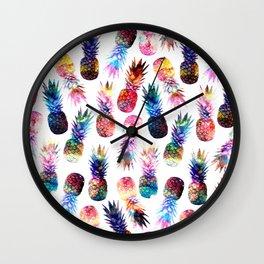 watercolor and nebula pineapples illustration pattern Wall Clock