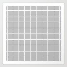 Grid (White/Silver) Art Print