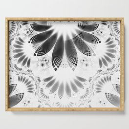 Silver Shikoba - Beautiful Black on White Fractal Paisley Forming Feathered Wings Serving Tray