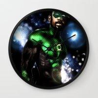 john green Wall Clocks featuring John Stewart : The Green Lantern by André Joseph Martin