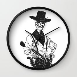 Sheriff with mustache and rifle Wall Clock