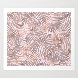 Shady rose gold palms Art Print