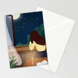 Elegant Gril In Room Drawing Stationery Cards