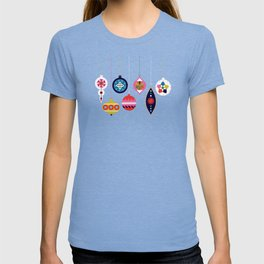 Retro Christmas Baubles on a dark background T-shirt