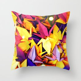 Senbazuru | purples n yellows Throw Pillow