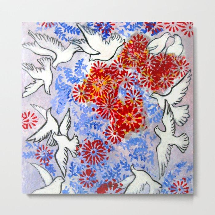 Floral Doves Metal Print