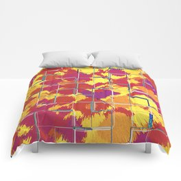 Squares Red & Yellow Abstract Comforters
