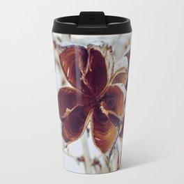 White Orange Flower Travel Mug
