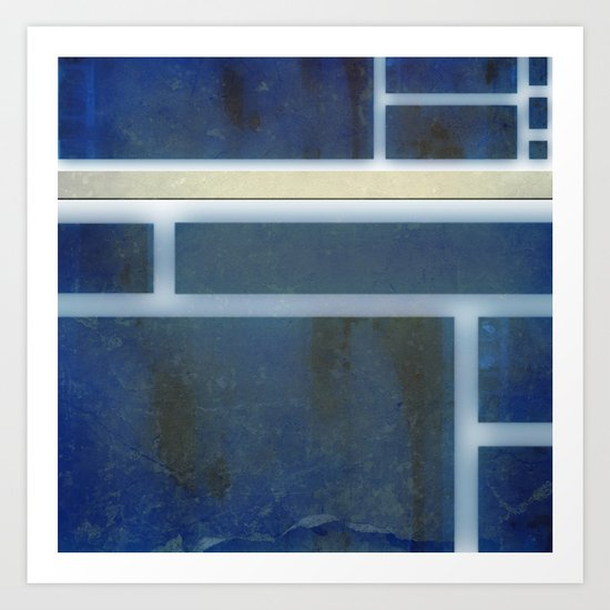collage: rusted blue Art Print