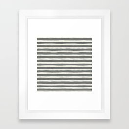 geo brush stripe large-sage Framed Art Print
