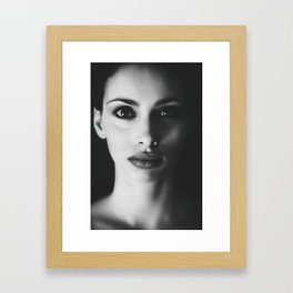 BW Woman Portrait Framed Art Print