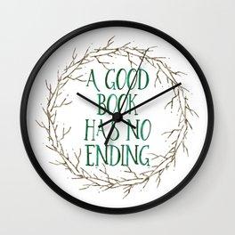 A Good Book Has No Ending (Colour) Wall Clock