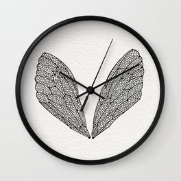 Black Cicada Wings Wall Clock