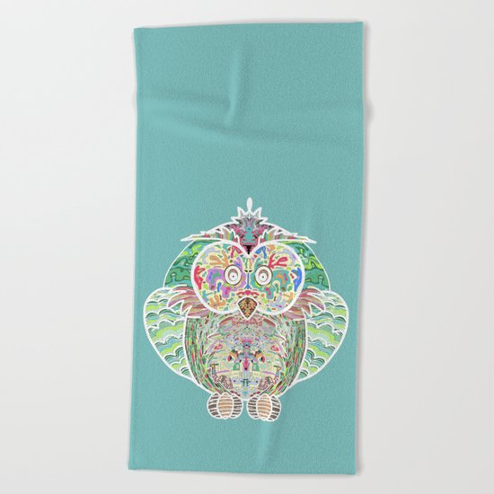 RAINBOW OWL Beach Towel