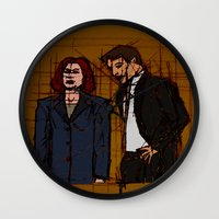 mulder Wall Clocks featuring there's something out there, mulder by Melvin Pena