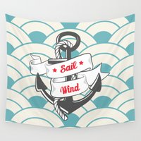 sailing Wall Tapestries featuring Sailing by 16floor