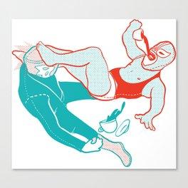 Coffee Wrestlers Canvas Print