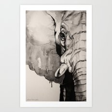Watercolour Elephant Art Print