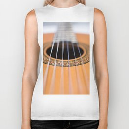 Strings of the guitar above the rose window Biker Tank
