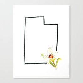 watercolor state flower utah sego lily Canvas Print