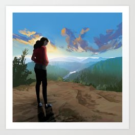 A girl and the blue mountain Art Print