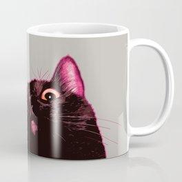 Curious cat, Black cat, Pop Art cat. Coffee Mug
