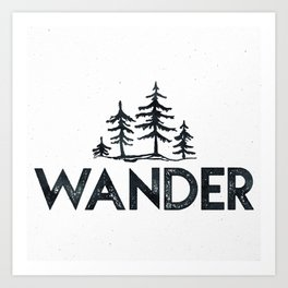 WANDER Forest Trees Black and White Art Print