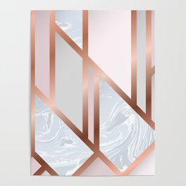 White Pastel Art Deco Poster