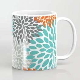 Floral Pattern, Abstract, Orange, Teal and Gray Coffee Mug