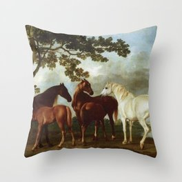 Classical Masterpiece Circa 1762 Mares and Foals in a River Landscape by George Stubbs Throw Pillow