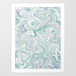 Love Spell Marble Green Blush Pink Blue Art Print