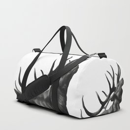 Elk in Black in White Duffle Bag