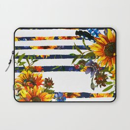 Yellow orange watercolor hand painted modern sunflowers stripes Laptop Sleeve