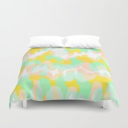 Lara - Chartreuse and mint abstract art Duvet Cover