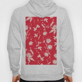 Red Passiflora Floral Pattern Hoody