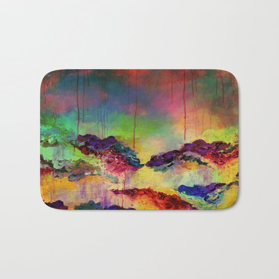 IT'S A ROSE COLORED LIFE 4 - Deep Red Colorful Floral Garden Abstract Crimson Green Painting Bath Mat