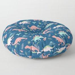 Jurassic Dinosaurs on Blue Floor Pillow