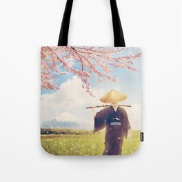 The warrior under the sakura tree Tote Bag