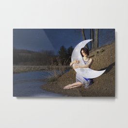 Embracing the Moon Metal Print