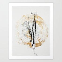 Gold and Black Minimal Abstract painting Art Print