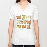 cartoon V-neck T-shirts featuring Cartoon Kitties by Irina  Romanovsky