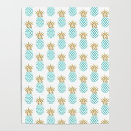 Elegant faux gold pineapple pattern Poster