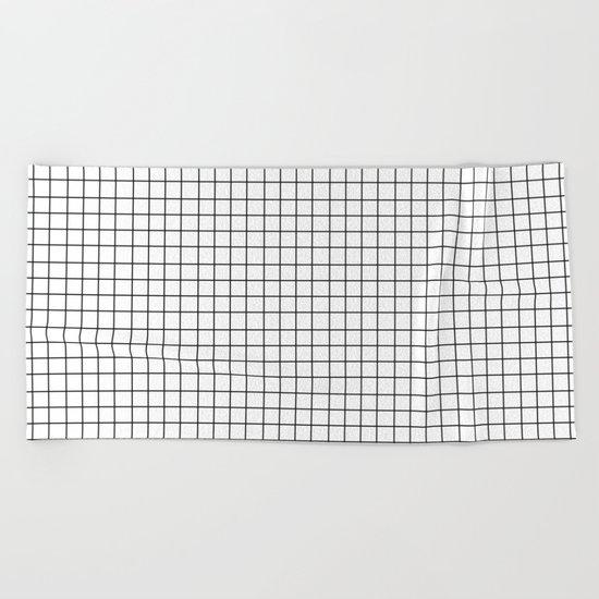 Grid (Black/White) Beach Towel