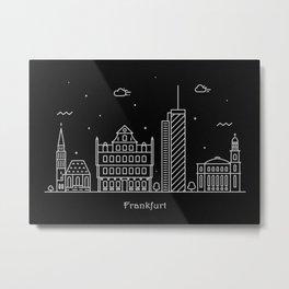 Frankfurt Minimal Nightscape / Skyline Drawing Metal Print