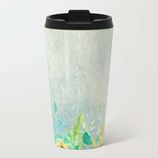 flowers in a meadow - Floral watercolor illustration Metal Travel Mug