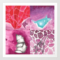 Fish, Bear, Giraffe and Mouse Art Print
